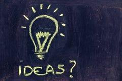 群策群力,滑稽的电灯泡在黑板 免版税库存照片