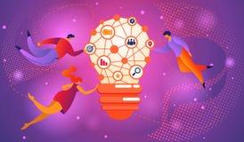 群策群力Infographic概念的大想法 电灯泡 皇族释放例证