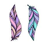 羽毛传染媒介例证 手拉的印刷品 纹身花刺艺术设计 库存例证