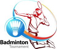 羽毛球体育比赛 库存照片