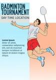 羽毛球体育邀请与空的空间,横幅模板的海报或飞行物背景 图库摄影