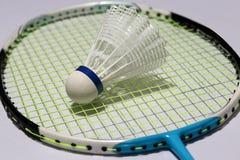 羽毛球塑料shuttlecock投入了羽毛球拍绿色网  免版税库存照片
