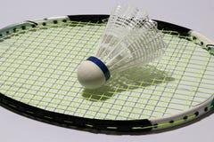 羽毛球塑料shuttlecock投入了羽毛球拍绿色网  免版税库存图片