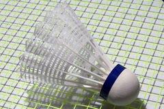羽毛球塑料shuttlecock投入了羽毛球拍绿色网  免版税图库摄影