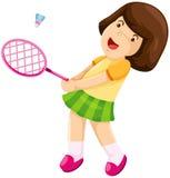 羽毛球女孩使用的一点 免版税图库摄影