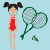 羽毛球女孩小的球拍 免版税库存照片