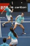羽毛球球员Jorrit de Ruiter和萨曼塔Ba 免版税库存照片