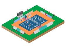 羽毛球竞争双比赛 图库摄影