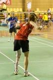 羽毛球被弄脏的残疾人s妇女 免版税库存图片