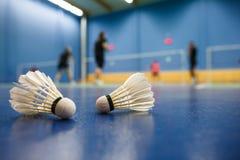羽毛球-与球员竞争的羽毛球场 免版税库存照片