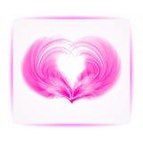 从羽毛的心脏在白色背景 库存照片