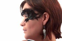 羽毛被掩没的妇女耳环 免版税库存照片