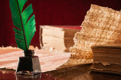 翎毛钢笔和纸莎草板料 免版税库存照片