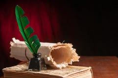 翎毛钢笔和纸莎草板料 库存照片