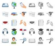 翻译和语言学家动画片,在集合收藏的单音象的设计 口译员传染媒介标志股票网 库存例证