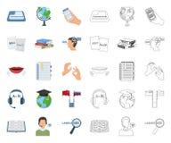 翻译和语言学家动画片,在集合收藏的概述象的设计 口译员传染媒介标志股票网 库存例证