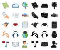 翻译和语言学家动画片,在集合收藏的黑象的设计 口译员传染媒介标志股票网 向量例证