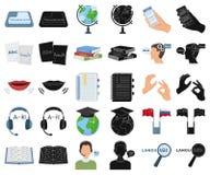 翻译和语言学家动画片,在集合收藏的黑象的设计 口译员传染媒介标志股票网 皇族释放例证