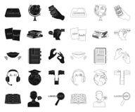 翻译和语言学家黑色,在集合收藏的概述象的设计 口译员传染媒介标志股票网 库存例证