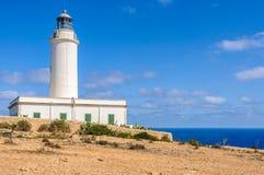 翻车鱼灯塔在福门特拉岛,西班牙 免版税库存图片