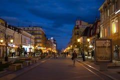 翼果,俄罗斯- 2016年10月12日:步行者列宁格勒街道在翼果前Kuybyshev的历史的中心 库存照片