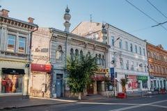 翼果,俄罗斯- 2016年8月07日:老翼果历史中心 历史大厦美好的建筑学  库存图片