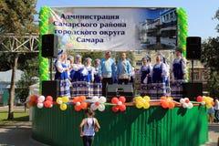 翼果,俄罗斯- 2014年8月24日:俄国民间好未知的peop 免版税库存照片