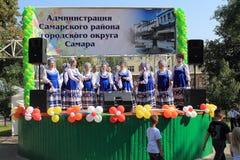 翼果,俄罗斯- 2014年8月24日:俄国民间好未知的peop 免版税库存图片