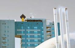 翼果,俄罗斯- 2016年1月16日:俄国石油公司Rosneft的办公楼是一家联合公司,一控制stak 库存照片