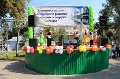 翼果,俄罗斯- 2014年8月24日:演奏  免版税库存照片