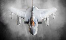 翼梢vorticies喷气式歼击机 免版税库存照片