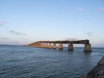 老七英里桥梁,向基韦斯特岛 库存照片