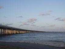 老七英里桥梁,向基韦斯特岛 免版税库存照片