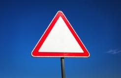 老三角交通标志 免版税库存照片