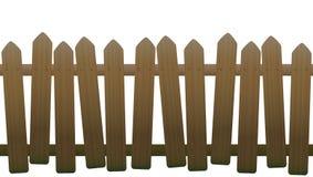 老不平稳的弯曲的木篱芭 向量例证