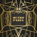 老与线的葡萄酒减速火箭的框架 20世纪20年代样式  皇家金黄优质装饰 皇族释放例证