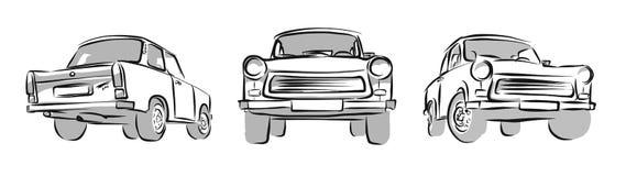 老东德汽车,三个看法 传染媒介剪影 免版税库存图片