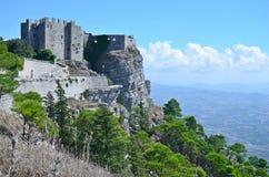 老中世纪堡垒在埃里切,意大利 免版税库存照片