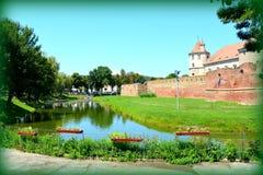 老中世纪堡垒在城市Fagaras,特兰西瓦尼亚 免版税库存照片