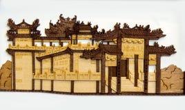 老中国大厦雕刻 库存照片