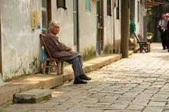 老中国妇女 免版税库存照片