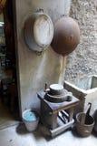 老中国房子厨房  免版税库存图片