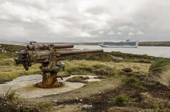老二战枪,福克兰群岛 免版税库存图片