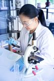 老亚洲妇女科学家神色,虽然对培养皿的放大镜在seriusly的实验室 库存图片