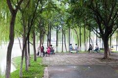 老人在公园在中国 免版税库存照片