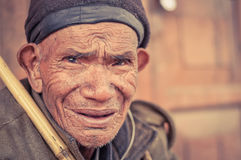 老人在阿鲁纳恰尔邦 图库摄影