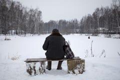 老人坐一条长凳在冬天,从后面的看法 免版税库存图片