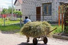 老人拉扯有干燥干草的一个推车在街道下 免版税图库摄影