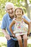 老人有孙女的骑马自行车 免版税库存图片