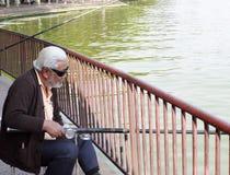 老人渔 免版税库存照片